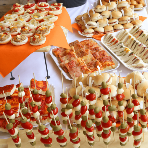 array of appetizers at catered event